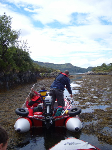 East Channel Oronsay. The channel into Loch Na Droma Buidhe is passable in an inflatable at High Tide. During springs you can easily achieve it with the engine down, but keep an eye open for rocks.