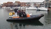 "Training ""towing alongside""... the small rib is towing the big one alongside..."