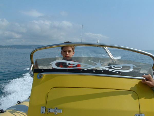 Little Nasher at the wheel of the Ocean