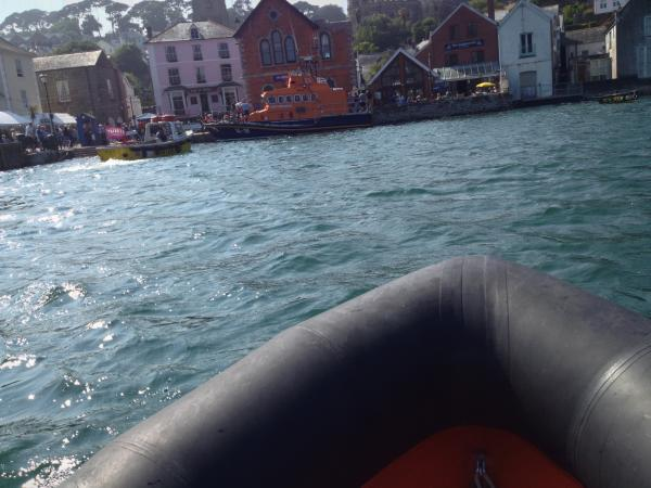 Lifeboat hoiked onto town square in Fowey on sunday