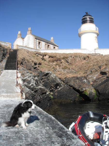 Helliar Holm lighthouse pier, Orkney, with first mate ready to board