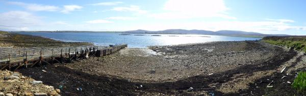 Fara pier - north side panorama, Scapa Flow, Orkney. Lyness and Hoy in the background