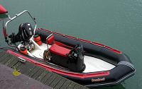 Red Stripe - Bombard Explorer 5mtr with a Suzi 50