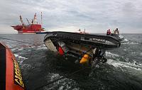 Recovering a capsized rib in Pechora sea Russian Arctic 2012