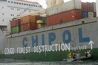 Painting of a shipment of timber illegally cut in Congo.  European timber import regs were updated after this activity. The harbor master and pilot...