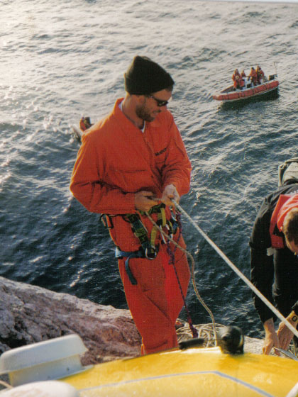 About to lower someone off the Rock into a rib during the Greenpeace month long occupation of 1997 which resulted in UK Gov' dropping it's claim on the rock.
