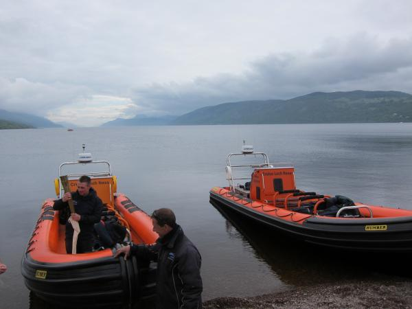 Ness Express and Ness Explorer on the beach at Dores.