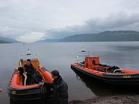 Ness Express and Ness Explorer on the beach at Dores.  Olympic torch run 2012