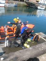Eyemouth post dive washdown after shipping a lot of spray