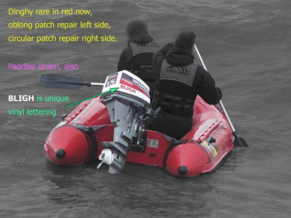 STOLEN - Zodiac Futura RIB in red with black detail.