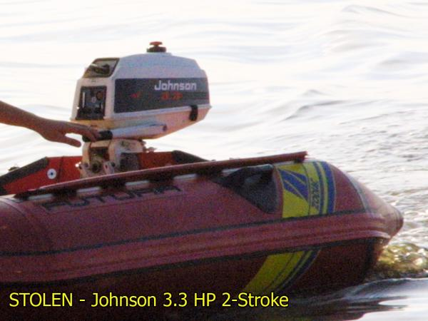 STOLEN - Johnson 3HP3 2-stroke white with black detail and Dinghy.