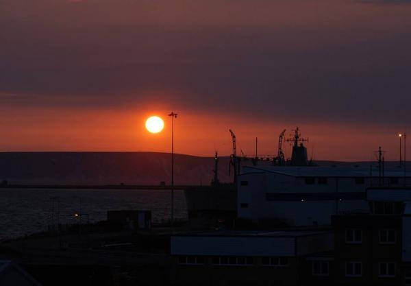 Sunrise over Portland Harbour