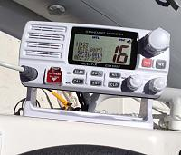 Standard Horizon GX1500E VHF DSC Radio showing GPS Position information from Lowrance Elite 4
