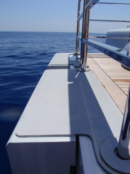 Stern fendering in foam with Hyalon fabric covering for super yacht