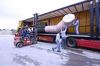 Loading sections of 18 metre foam/air hybrid tubes for SAR IOtalian Coastguard boats