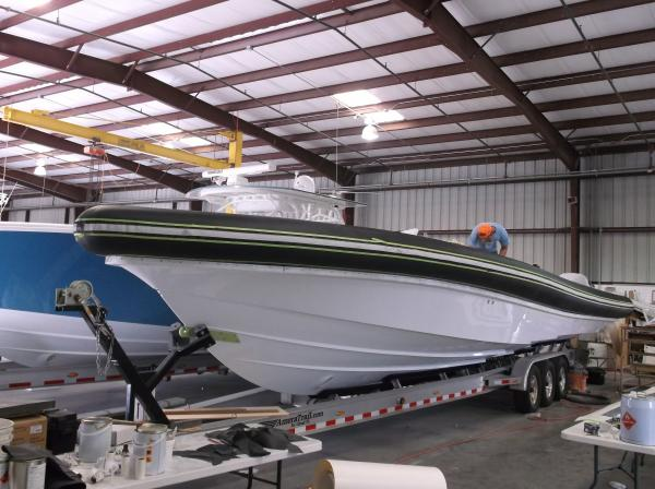 Fitting tubes to 12 metre Yellowfin RIB in Florida