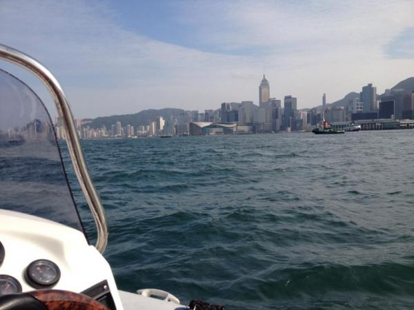 through Hong Kong Harbour with Central & Wanchai to the right...