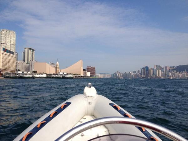 Through Hong Kong Harbour with Tsim Sha Tsui on the left...