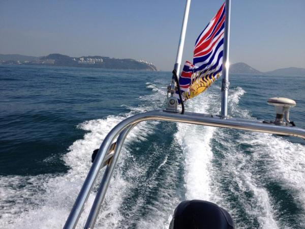 cruizing out... past Stanley peninsula, Hong Kong Island (in the distance)