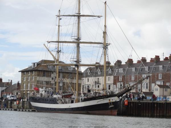 Tall ship about to set sail from Weymouth to support the Shackleton re-enactment.