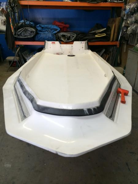 interior sanding before grey gelcoat after keel was painted