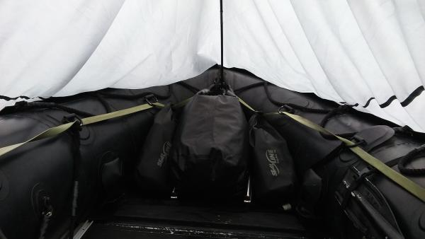 SealLine bags with equipment all clipped in, looking pretty clean.