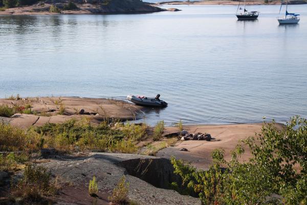 Dinghy to shore Benjamin Islands, North Channel, Canada