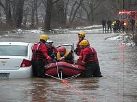 Avon ERB-310 used to make a swift water rescue of a motorist stranded on a flooded roadway.