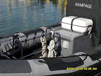 Forward shot showing dive cylinder rack, storage box and liferaft