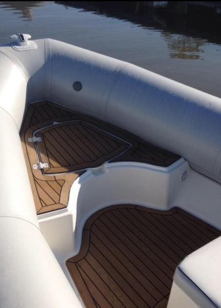 Synthetic teak decking fitted by Rib Shop to Bombard Rib