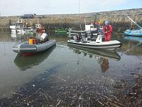 Sula (Ribcraft 4.8m) and a Searider 5.4m in Rosehearty harbour at low tide in seaweed stew!