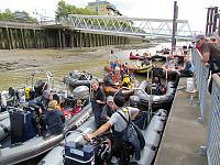 Mustering for the Great River Race on the River Thames
