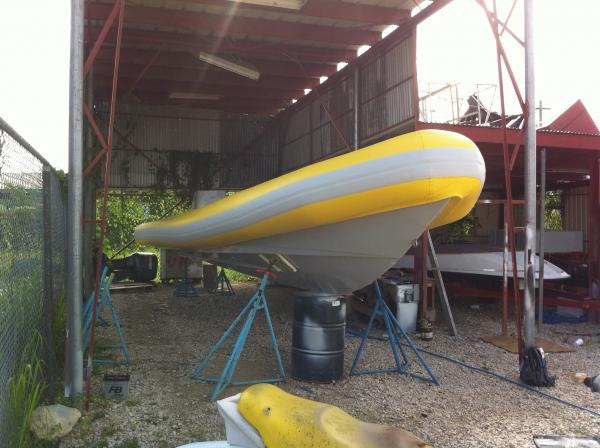 12.5 mtr AQ Rib, retubed for Antigua Seafaris, now fitted with twin 300 Yamaha's.