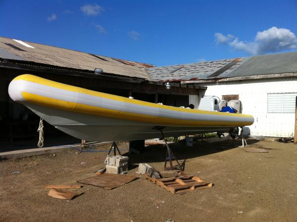 AQ 12.5 retubed in 2008 now stationed in Dominica, pictured here on Antigua for replacement strakes and fittings.