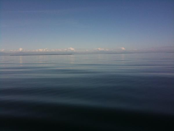 Flat as a mill pond for 15 miles. Georgia Strait. (It doesn't look like this very often)