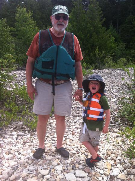 My son Finn and Grandpa George - Frying Pan Island Lake Huron