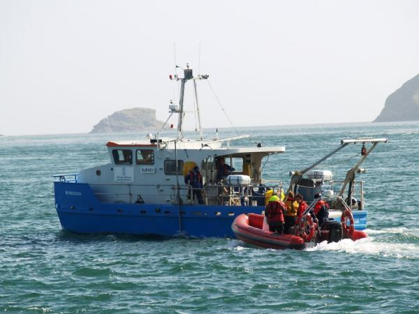 Working in Ramsey Sound (tidal flow monitoring) with MV Noctiluca