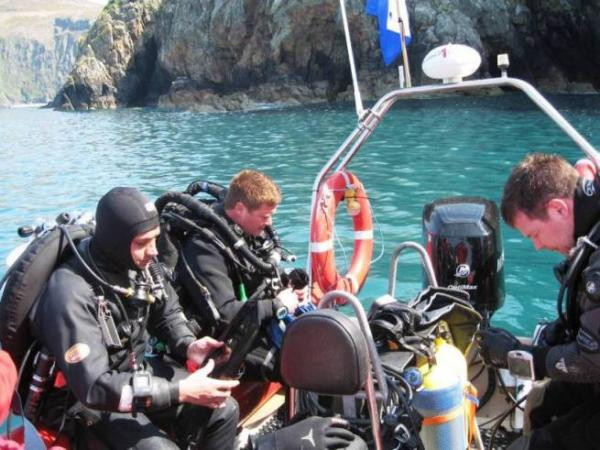 Dan Stevenson, and Stu Keasley - Diving with Monty Halls.