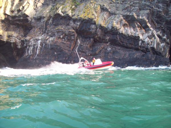 Leaving Cemaes Head sea cave